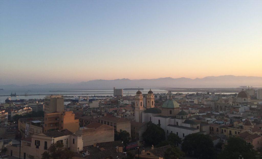 Sardinien Cagliari Aussicht Sonnenuntergang
