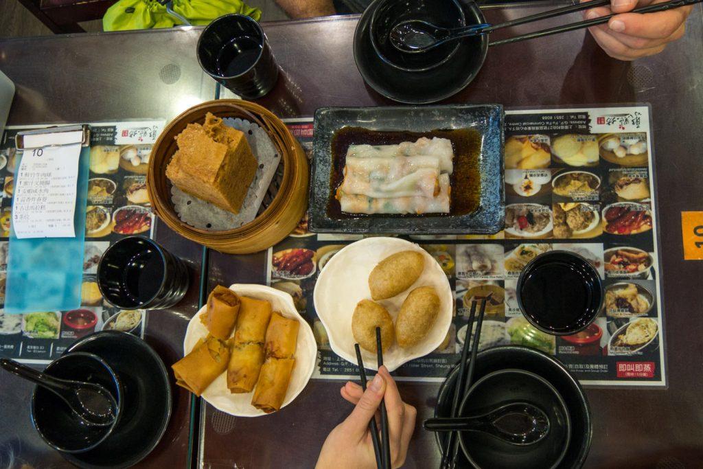 Essen im Dim Sum Square in Hongkong