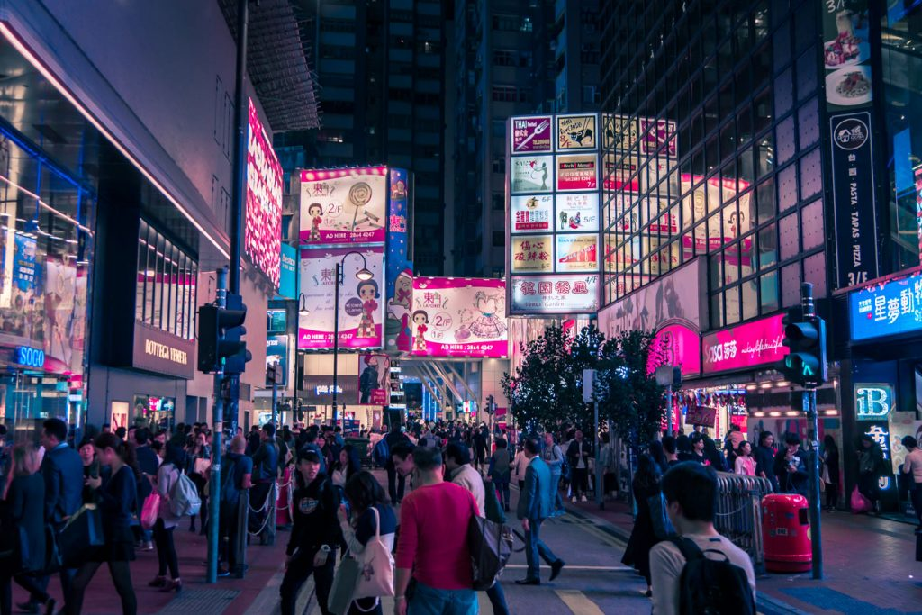 Verkehr am Time Square in Hongkong