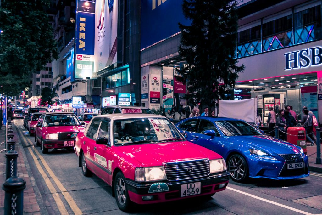 Taxiverkehr in Hongkong