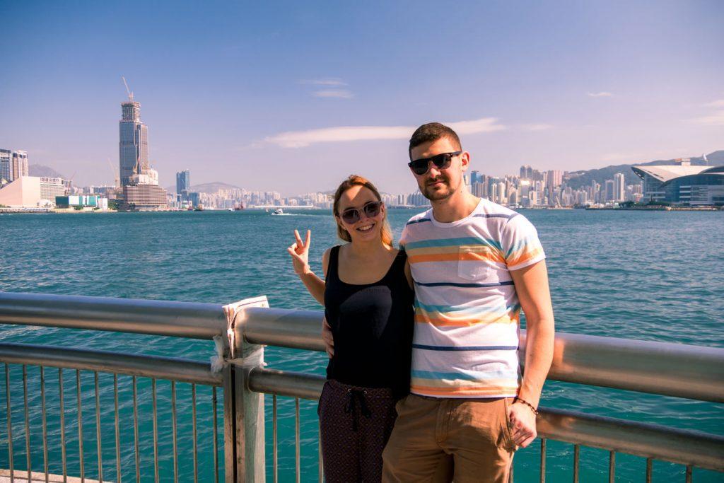 Wir am Victoria Harbour auf Hongkong Island
