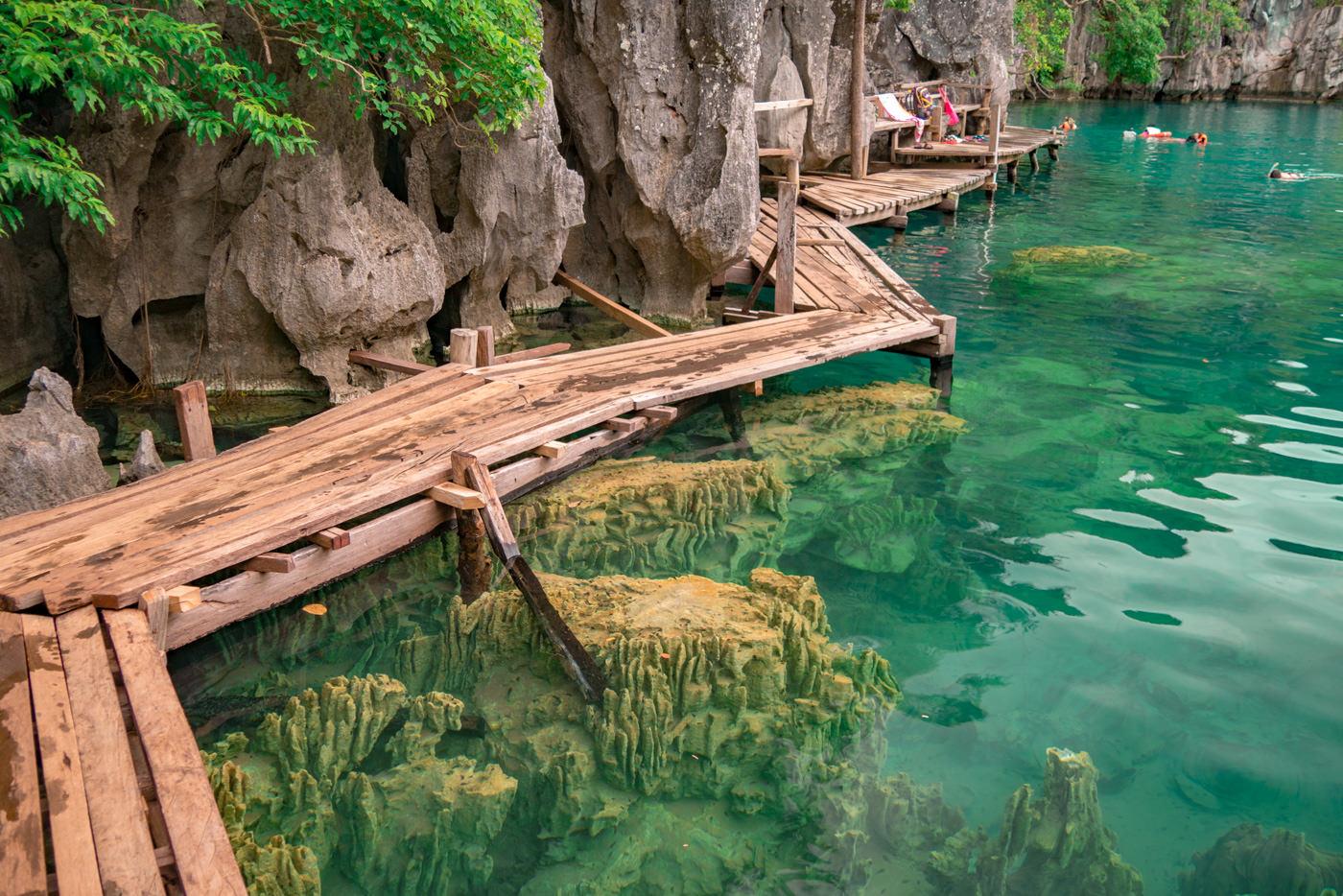 Steg des Kayangan Lake bei Busuanga auf den Philippinen