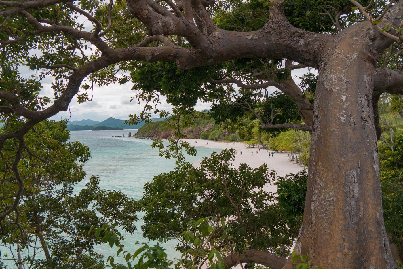 Blick auf Strand und Meer der Malcapuya Island auf den Philippinen