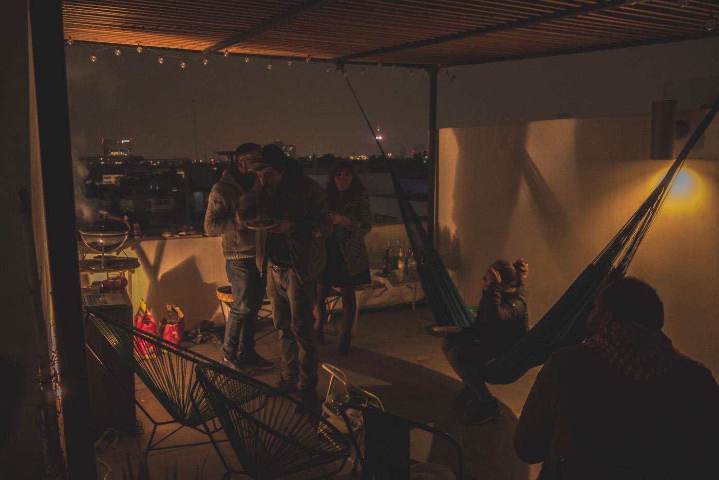Silvester auf der Dachterrasse unseres AirBnB Appartements in Mexiko-Stadt