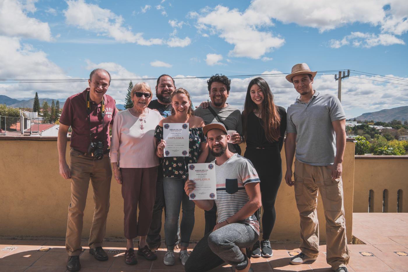 Gruppenfoto nach unseren 2 Wochen in der Spanisch Schule Amigos del Sol in Oaxaca, Mexico