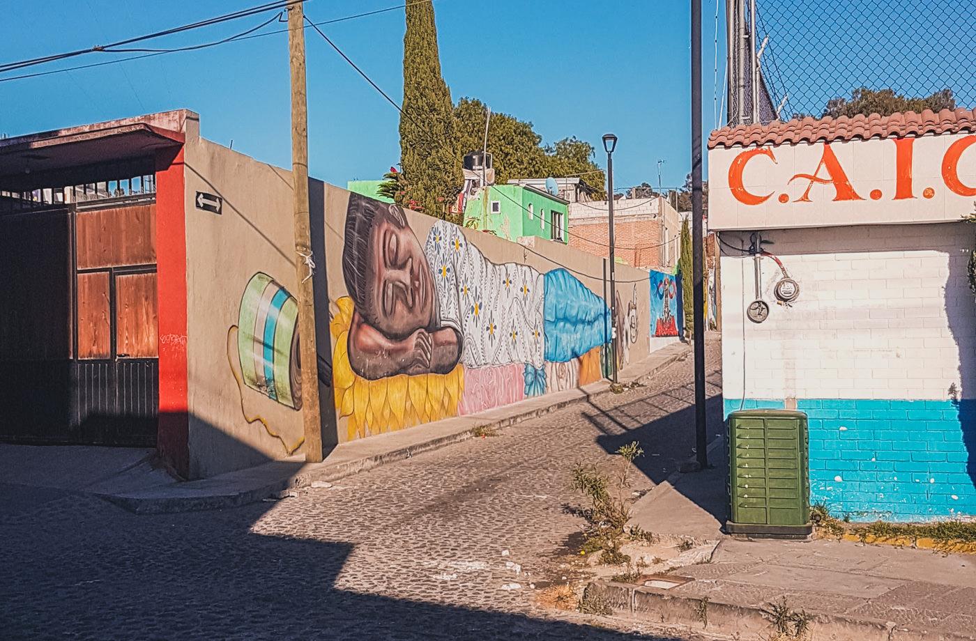 Streetart im Barrio Xanenetla in Puebla in Mexiko