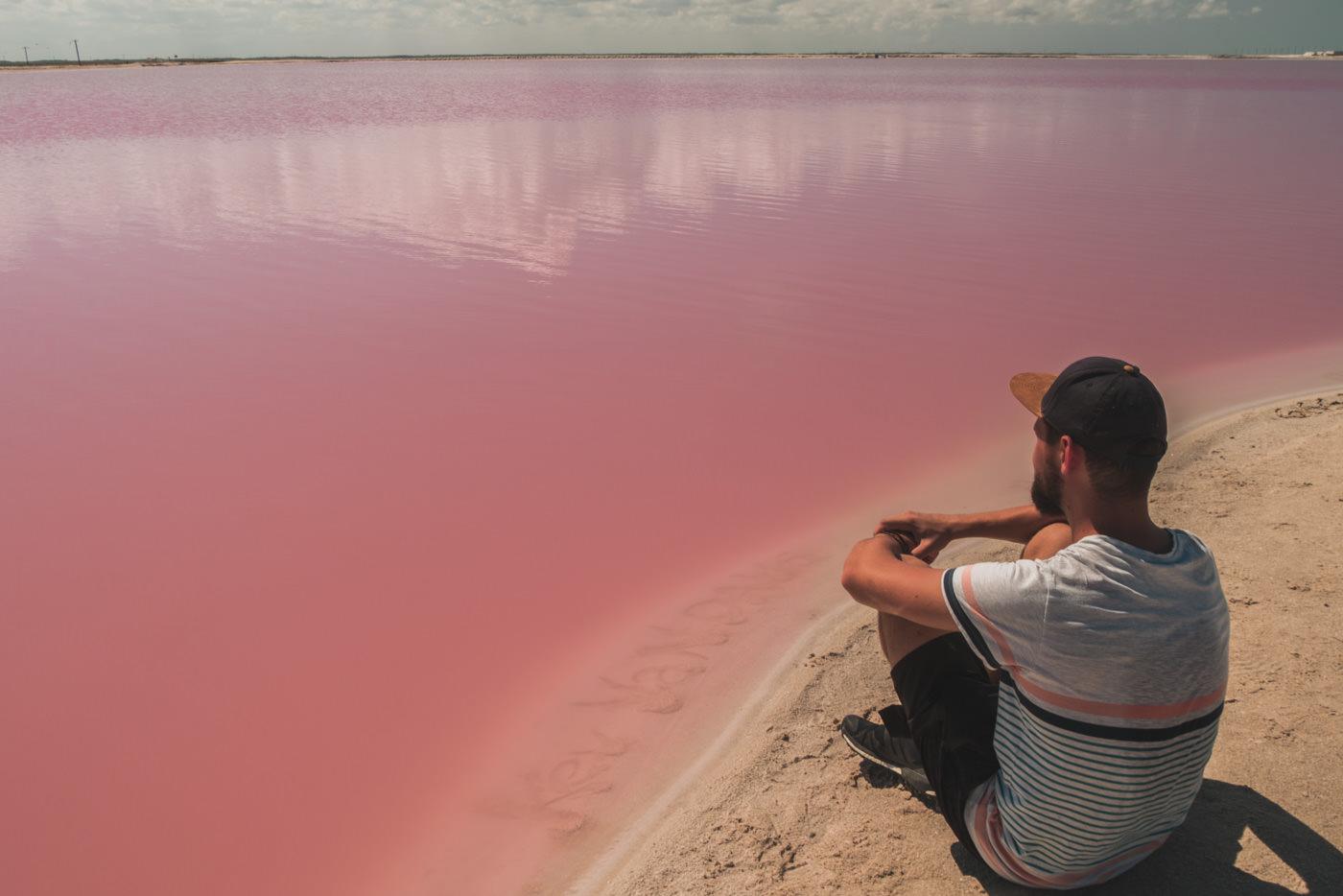 Matthias an der pinken Lagune in Las Coloradas