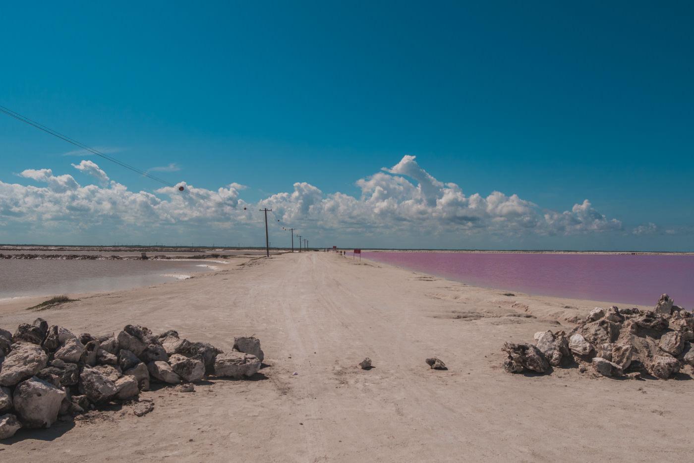 Pinke Lagune von Las Coloradas in Mexiko