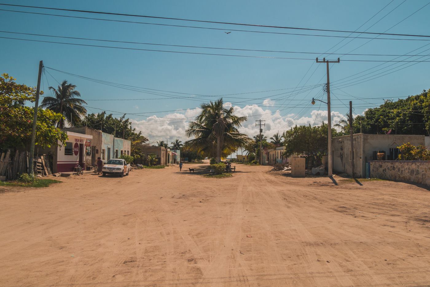 Straße in Las Coloradas in Mexiko
