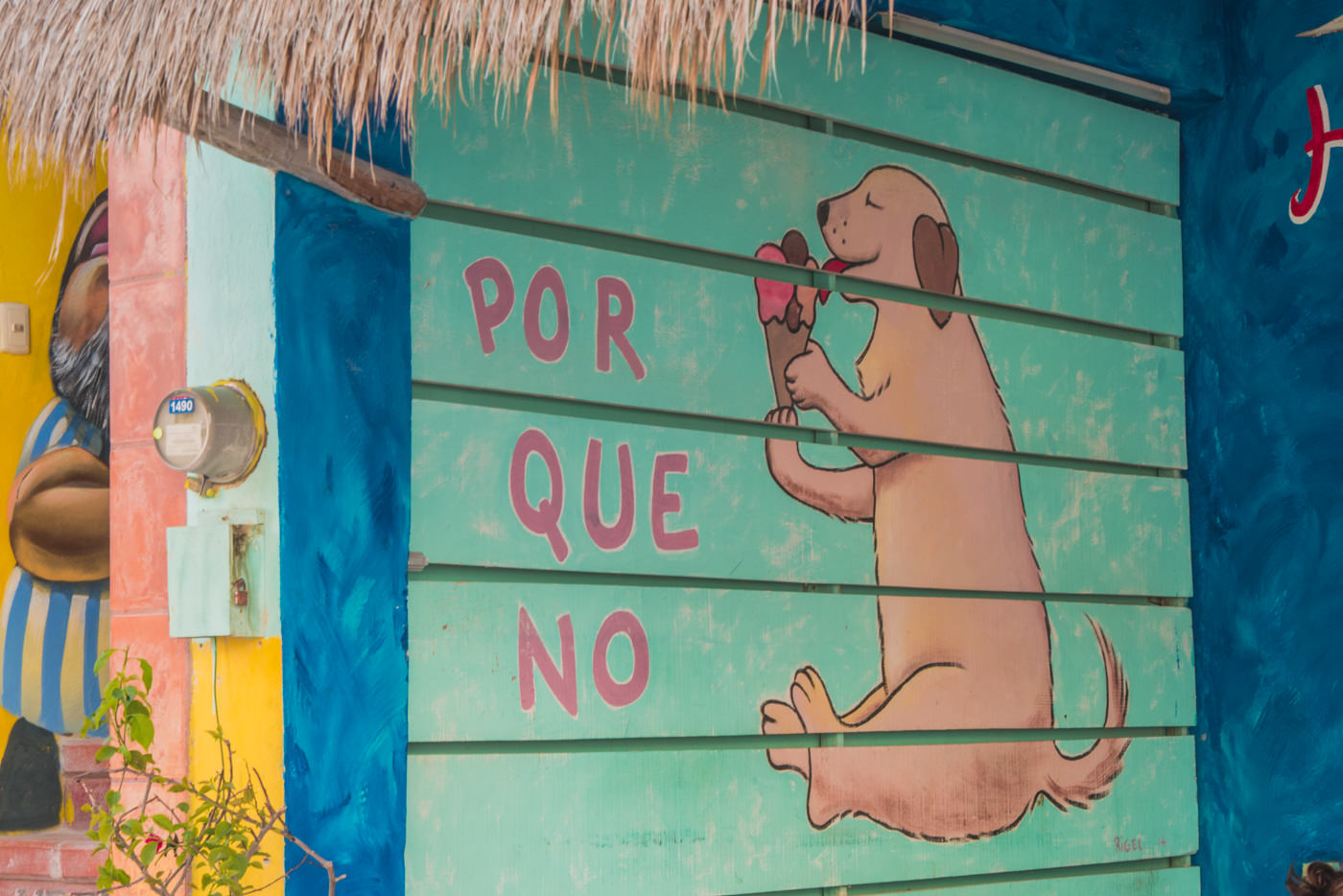 Streetart auf Isla Holbox in Mexiko