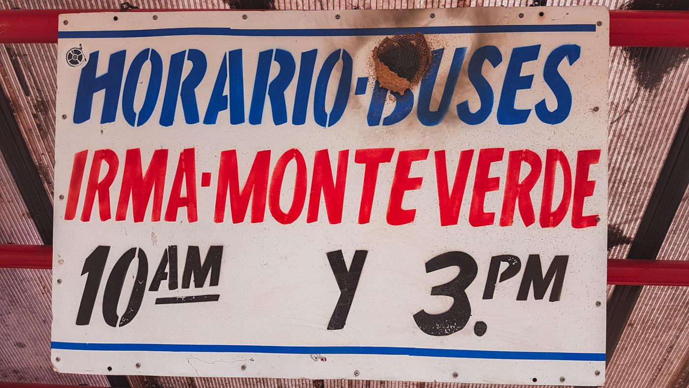 Abfahrtszeiten des Busses nach Monetverde von La Irma