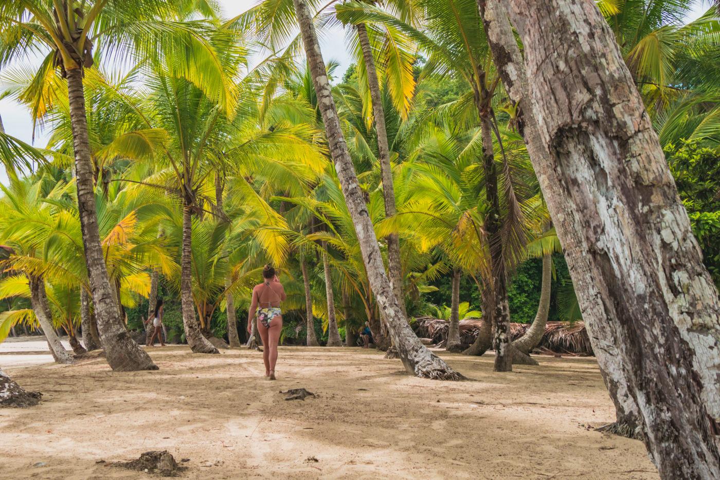 Julia zwischen Palmen im Coiba Nationalpark
