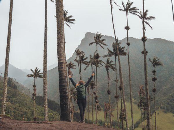 Julia unter den Wachspalmen im Valle de Cocora