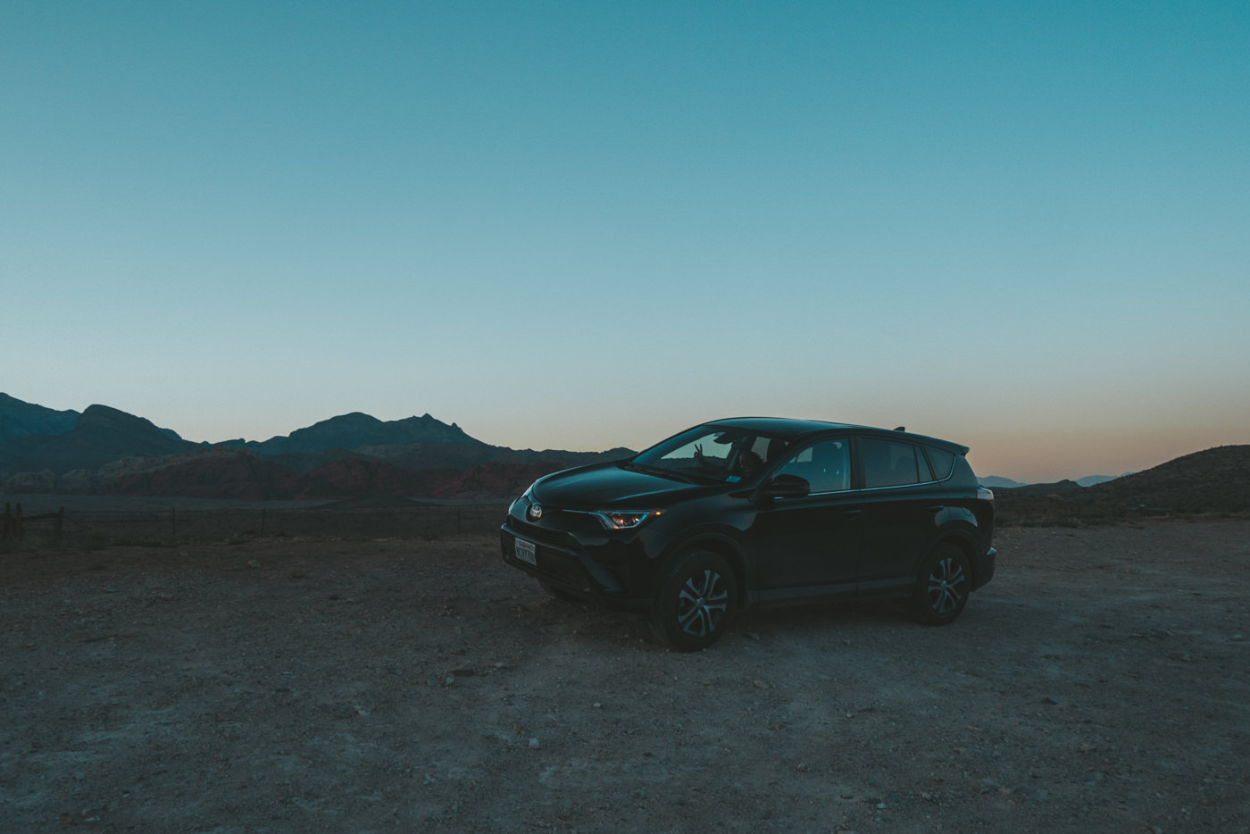 Unser Mietauto am Red Rock Canyon
