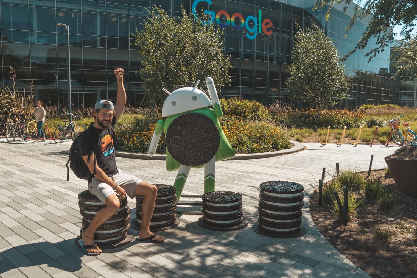 Matthias auf dem Google Campus mit Android