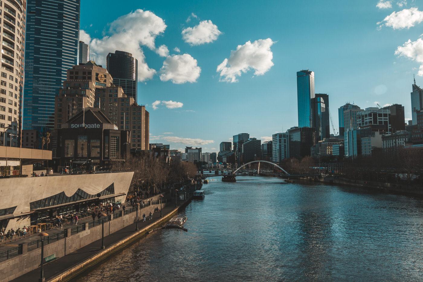 Blick auf den Yarra River in Melbourne
