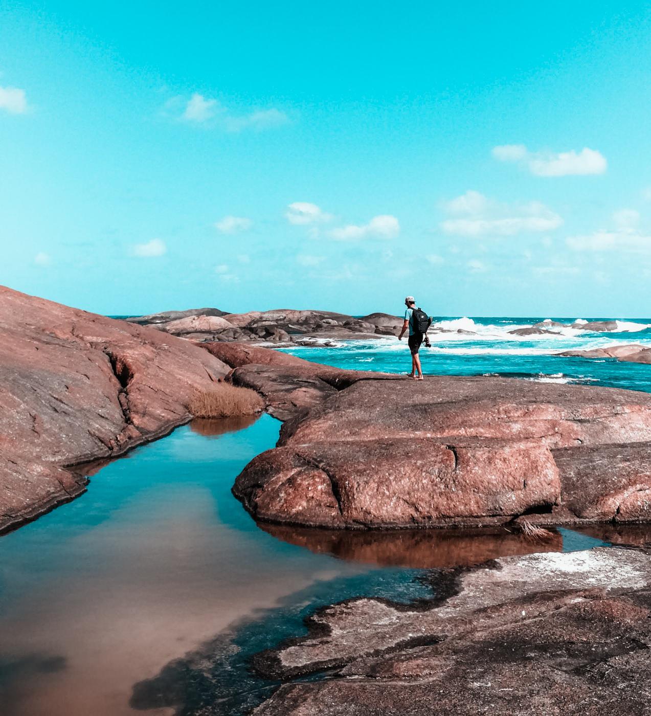 Matthias an den Elephant Rocks in Westaustralien