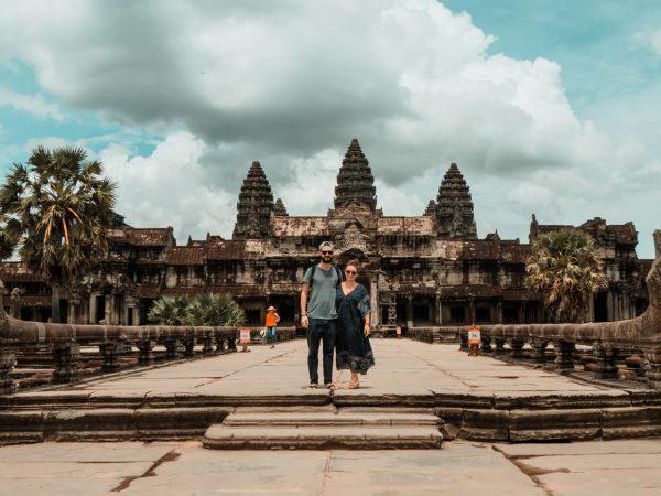Wir vor Angkor Wat, Kambodscha