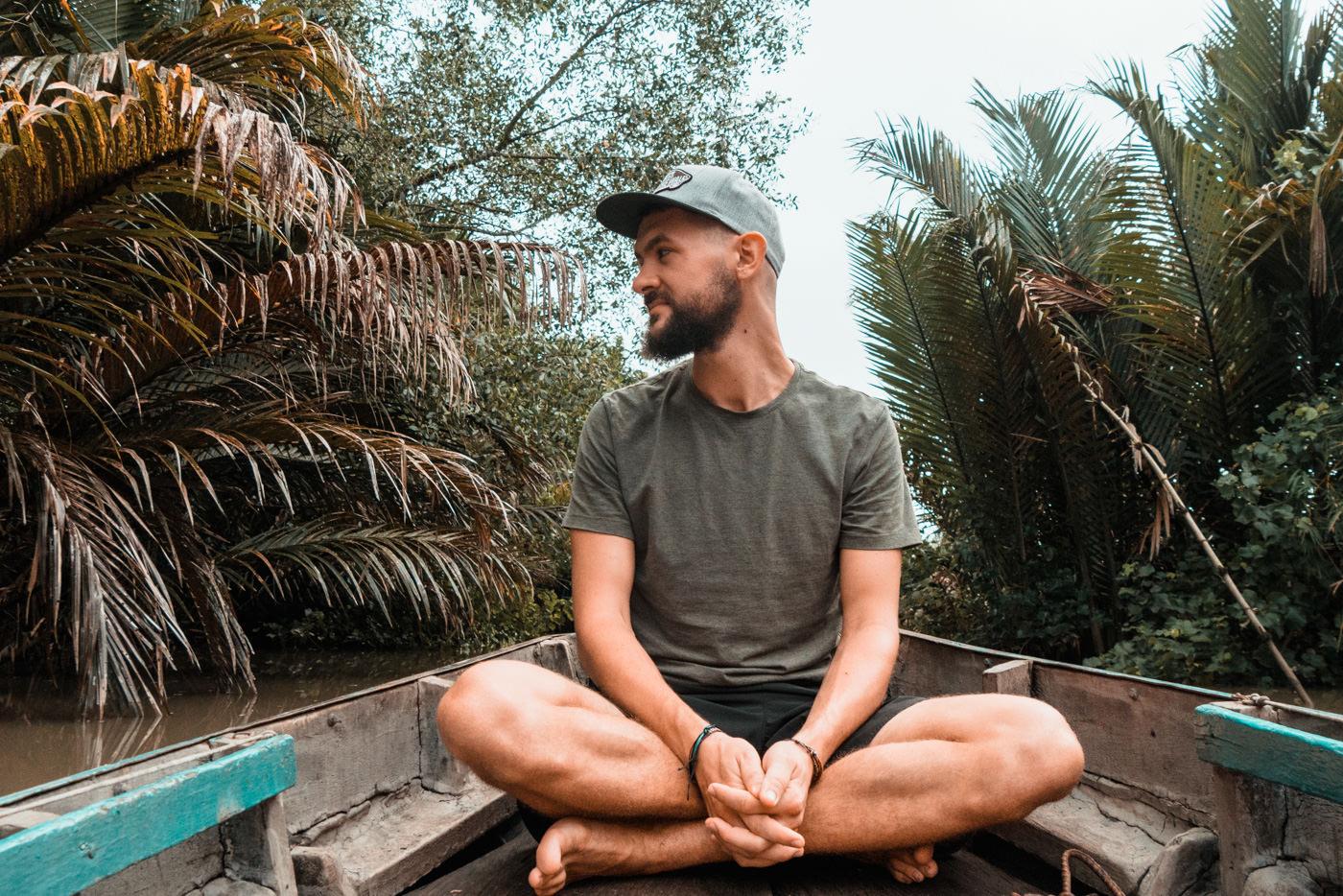 Matthias auf dem Boot auf dem Mekong Delta