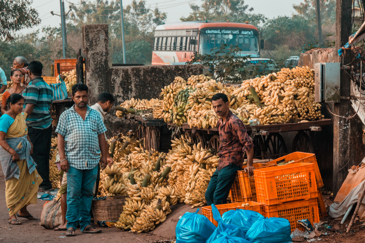 Bananenhändler in Anjuna, Goa