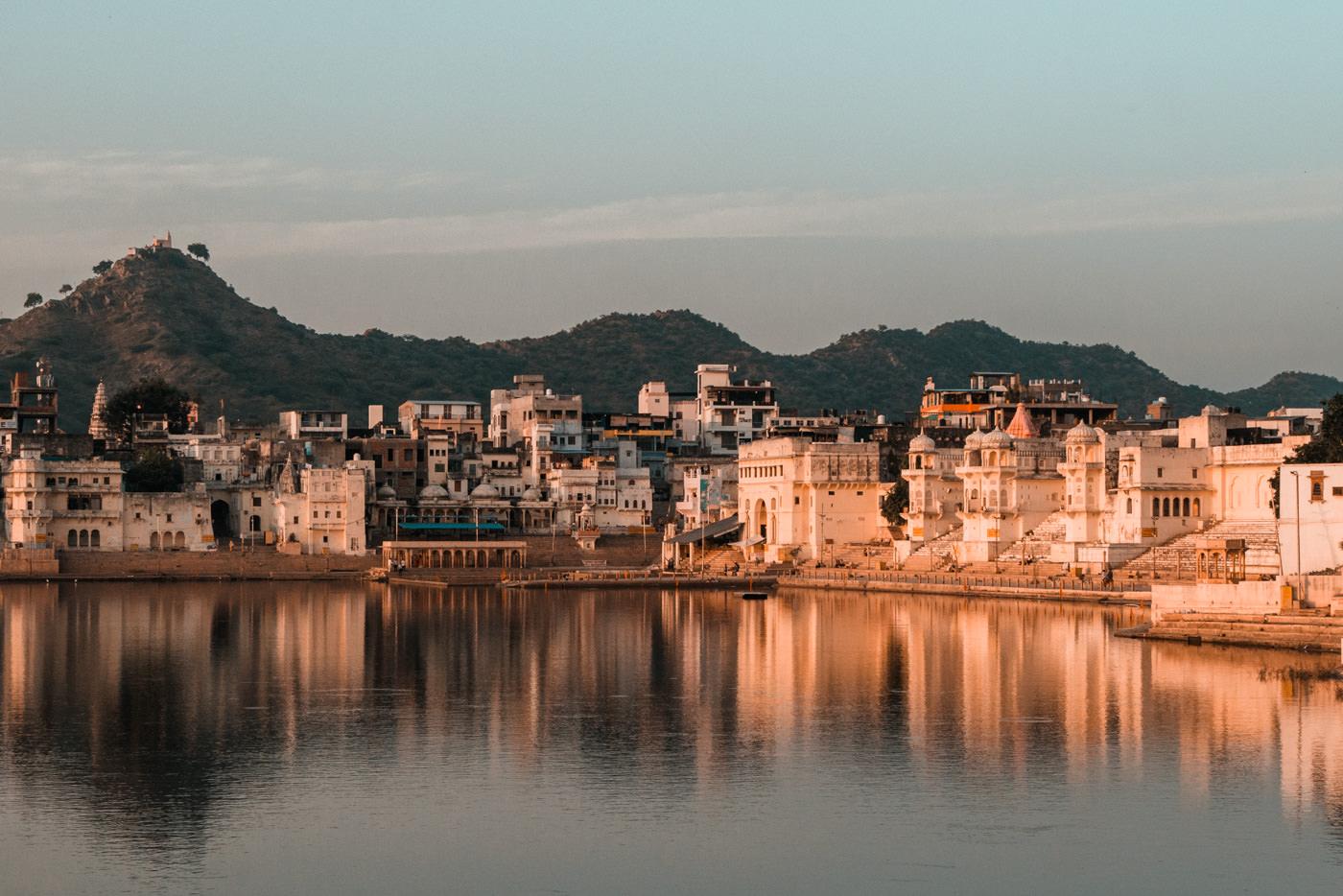 Sonnenuntergang am See von Pushkar